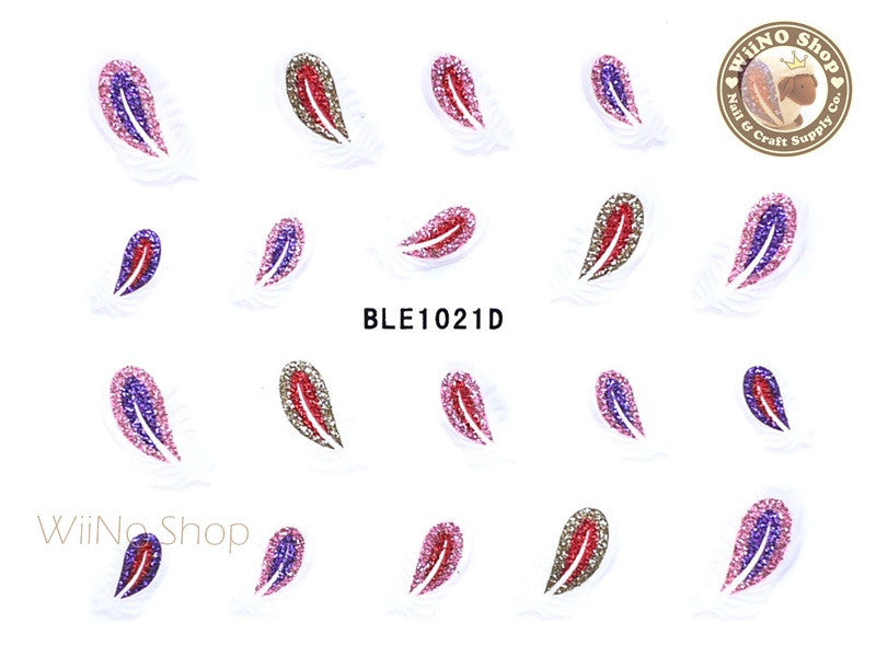 Glitter Feather Adhesive Nail Sticker Nail Art - 1 pc (BLE1021D)