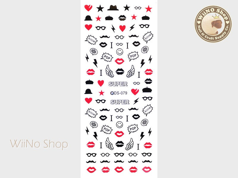 Lips Mustache Hat Glasses Water Slide Nail Art Decals - 1 pc (DS-079)