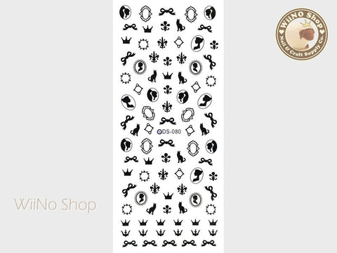 Victorian Fleur De Lis Water Slide Nail Art Decals - 1 pc (DS-080)