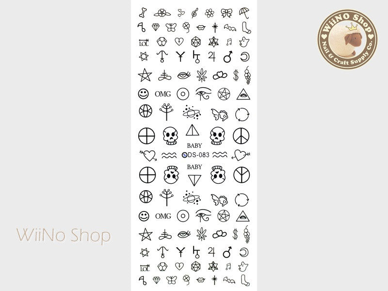 Hipster Symbols Water Slide Nail Art Decals - 1 pc (DS-083)