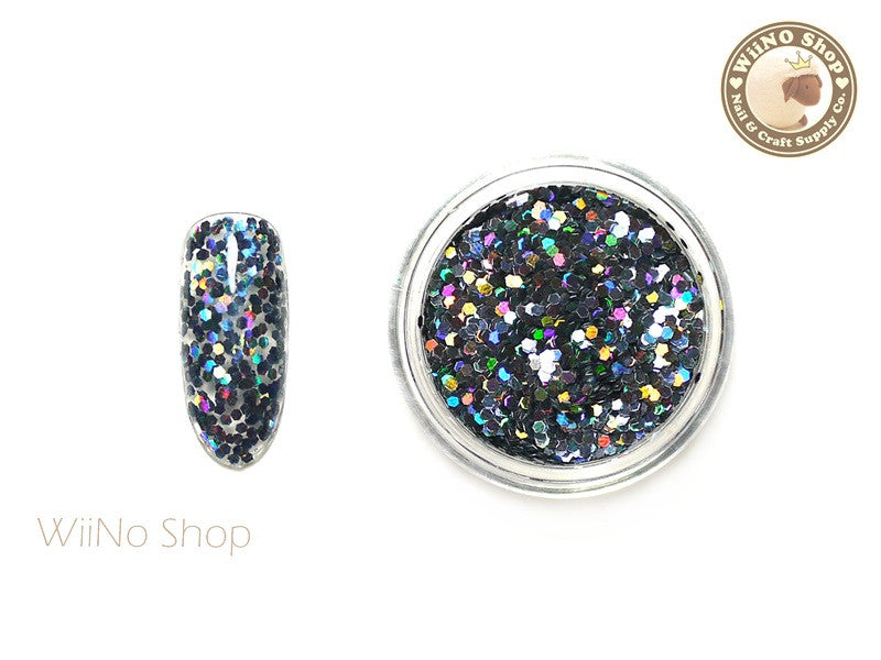 Steel Gray 1mm Hexagon Holographic Glitter (HS08)