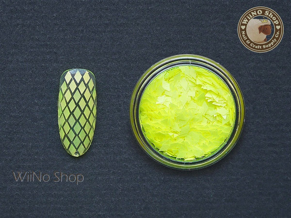 2 x 3mm Neon Yellow Diamond Shapes Nail Art Glitter