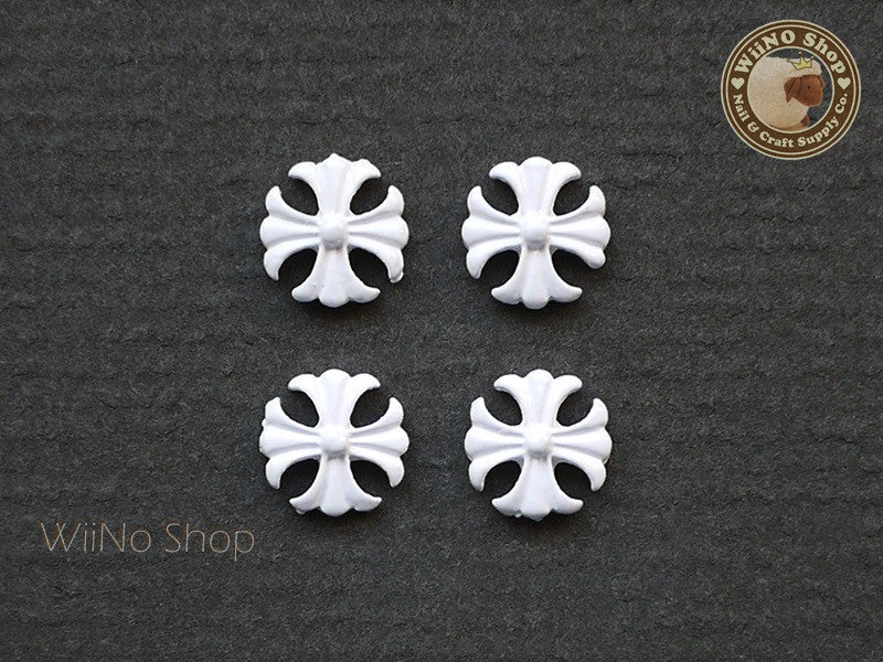 White Square Cross Nail Metal Charm Nail Art - 2 pcs