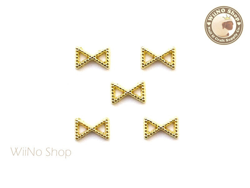 Gold Bow Frame Nail Art Decoration - 5 pcs