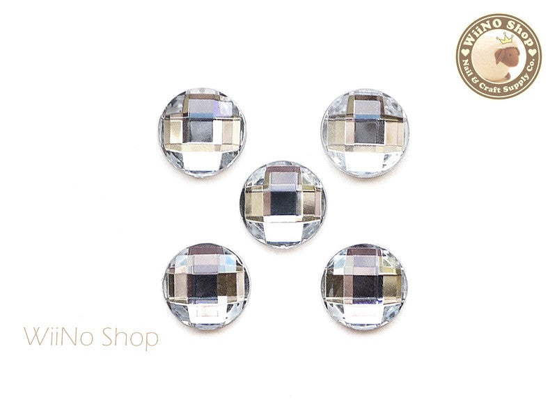 12mm Clear Round Square Cut Flat Back Acrylic Rhinestone - 5 pcs