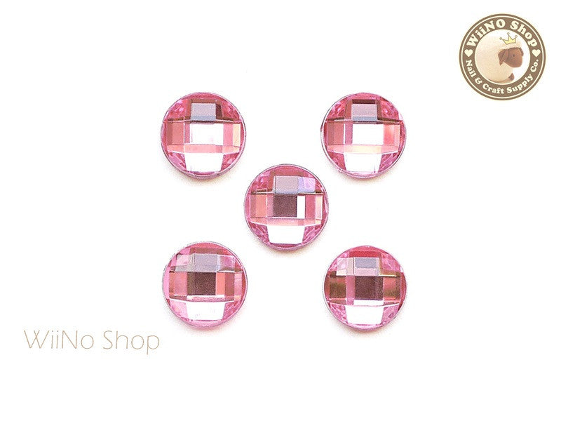 12mm Pink Light Rose Round Square Cut Flat Back Acrylic Rhinestone - 5 pcs
