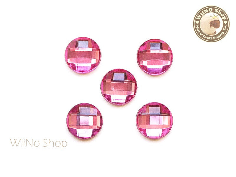 12mm Pink Rose Round Square Cut Flat Back Acrylic Rhinestone - 5 pcs