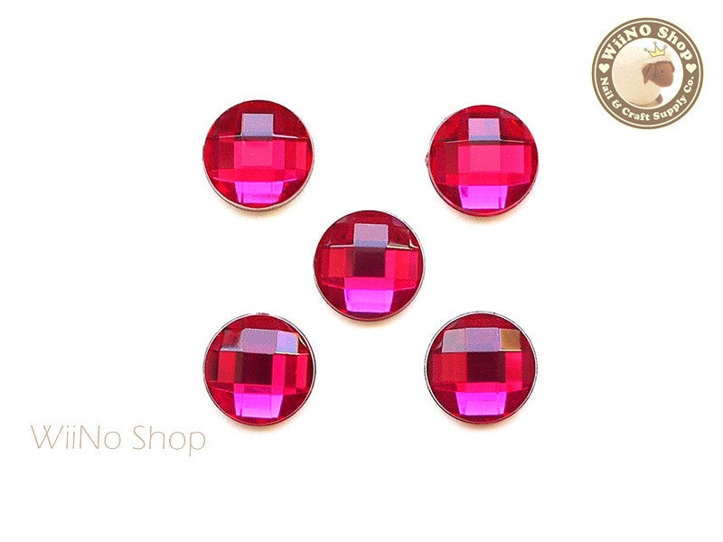 12mm Fuchsia Hot Pink Round Square Cut Flat Back Acrylic Rhinestone - 5 pcs