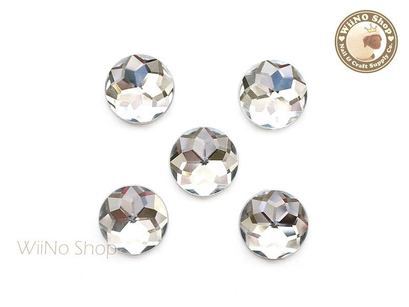 15mm Clear Round Flat Back Acrylic Rhinestone - 5 pcs