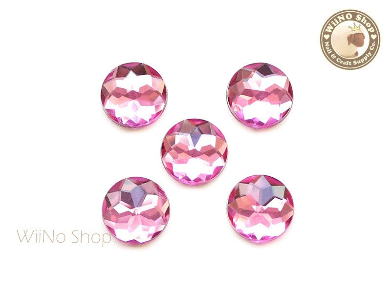 15mm Pink Rose Round Flat Back Acrylic Rhinestone - 5 pcs
