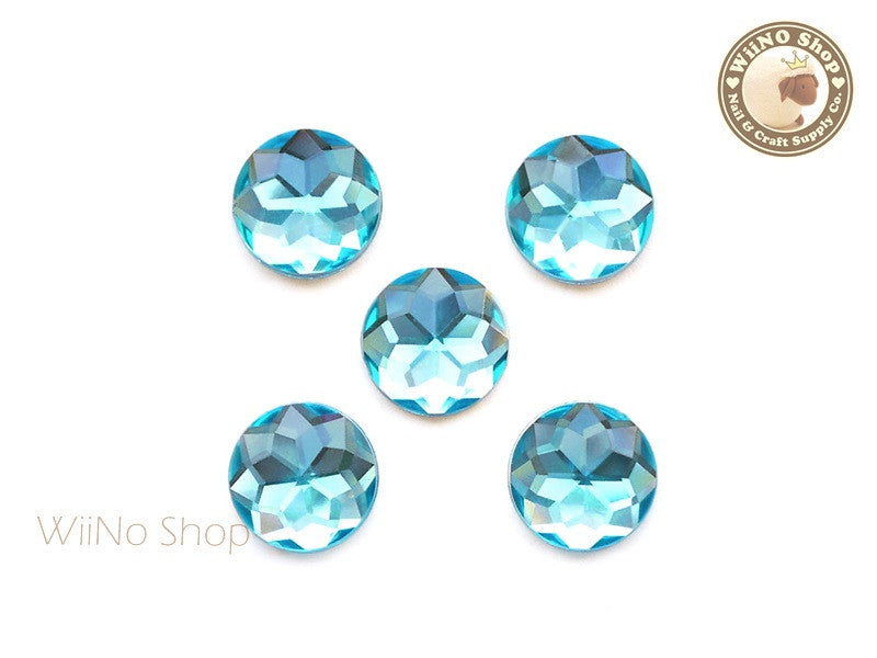 15mm Blue Aquamarine Round Flat Back Acrylic Rhinestone - 5 pcs