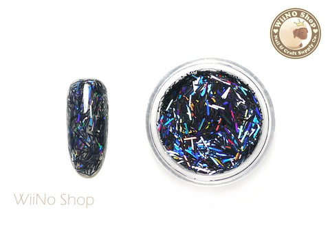 Black Holographic Glitter Bars / Nail Art Craft (C02)