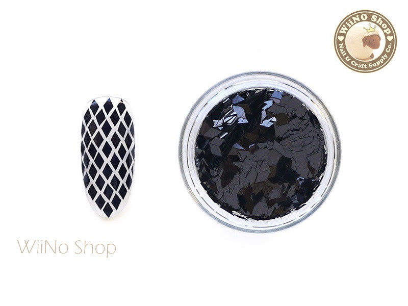 2 x 3mm Black Diamond Shape Nail Art Glitter (DM08)