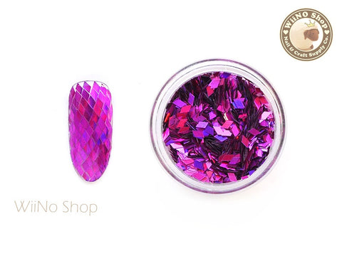 2 x 3mm Fuchsia Holographic Diamond Shape Glitter (DM04)
