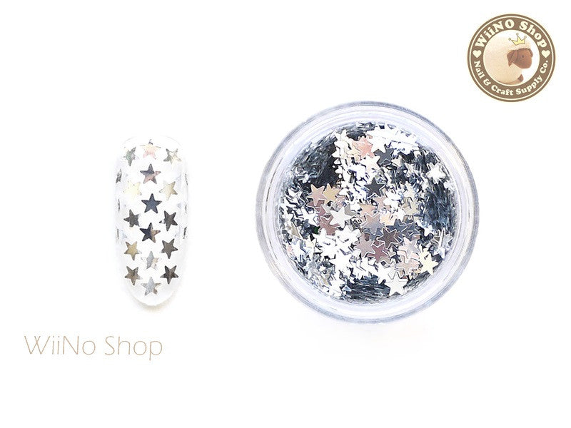 3mm Silver Star Nail Art Glitter