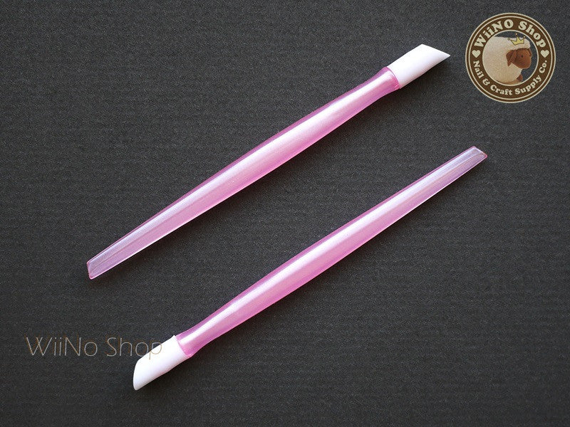 Pink Rubber Cuticle Pusher Nail Decals Nail Wrap Tools - 1 pc