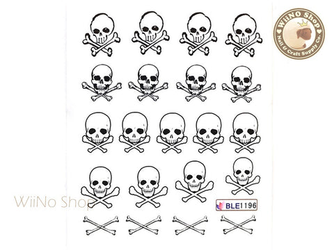 Skull Water Slide Nail Art Decals - 1pc (BLE1196)