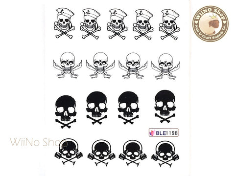 Pirate Skull Water Slide Nail Art Decals - 1pc (BLE1198)
