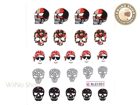 Skull Water Slide Nail Art Decals - 1pc (BLE1201)