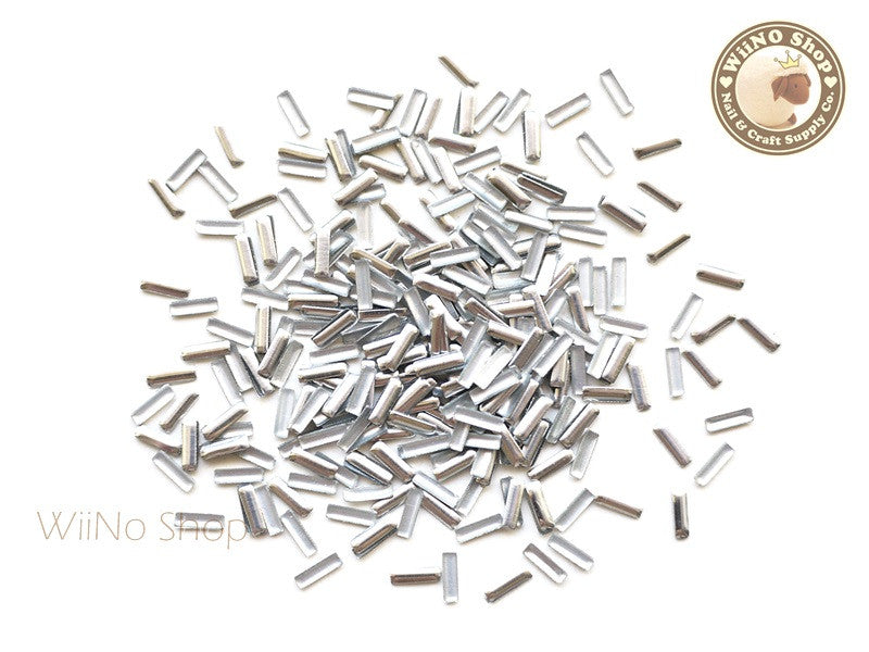 1.5 x 5mm Silver Rectangle Metal Studs - 100 pcs