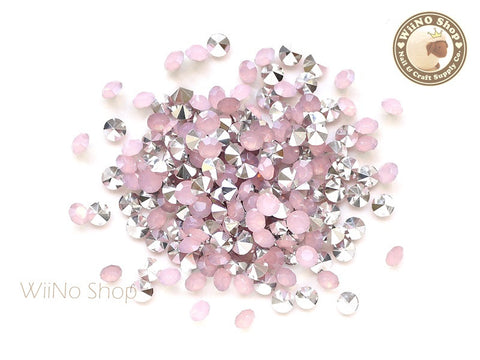 ss18 Pink Opal Round Diamond Style 3D Point Back Acrylic Rhinestone - 50 pcs