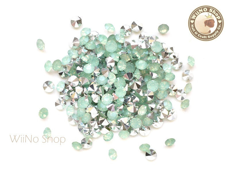 ss18 Light Green Opal Round Diamond Style 3D Point Back Acrylic Rhinestone - 50 pcs