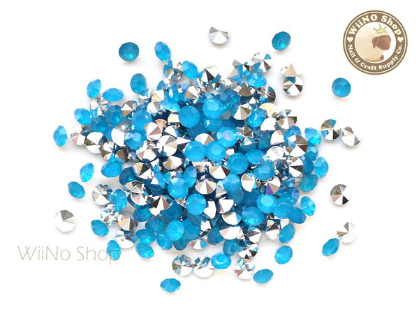 ss18 Caribbean Blue Opal Round Diamond Style 3D Point Back Acrylic Rhinestone - 50 pcs
