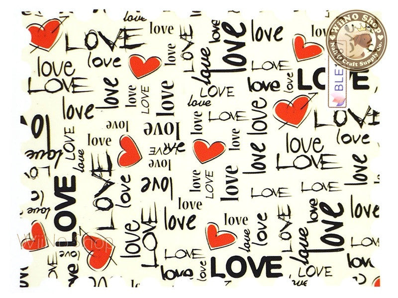 Love Photo Stamp Water Slide Nail Art Decals - 1pc (BLE1887)