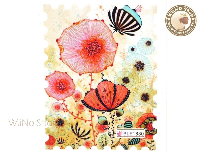 Garden Floral Photo Stamp Water Slide Nail Art Decals - 1pc (BLE1880)