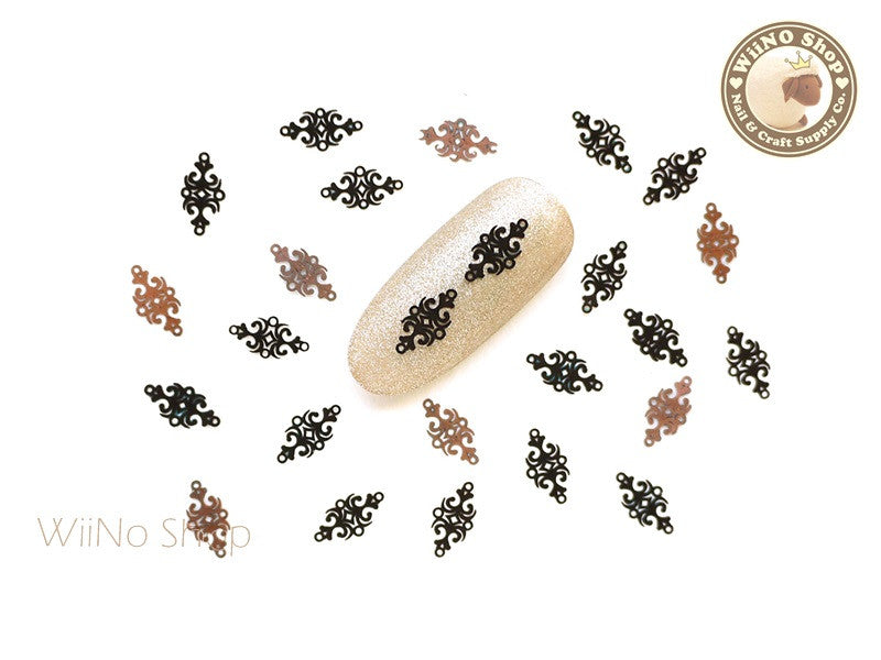 Black Vector Pattern Ultra Thin Nail Art Metal Decoration - 25 pcs