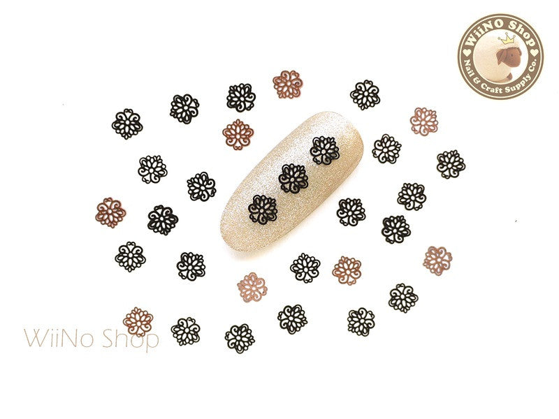 Black Floral Pattern Ultra Thin Nail Art Metal Decoration - 25 pcs