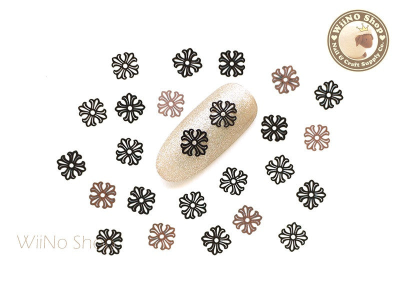 Black Square Cross Ultra Thin Nail Art Metal Decoration - 25 pcs