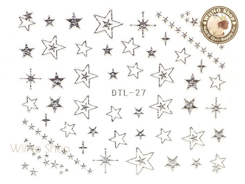 Silver Star Nail Art Sticker - 1 pc (DTL-27S)