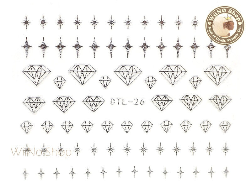 Silver Bling Diamond Nail Art Sticker - 1 pc (DTL-26S)