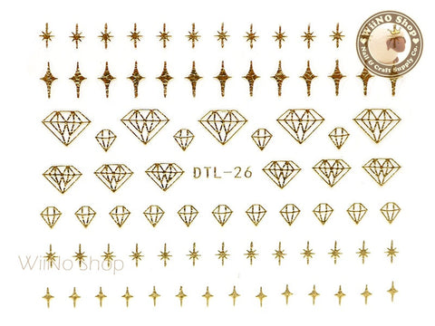Gold Bling Diamond Nail Art Sticker - 1 pc (DTL-26G)