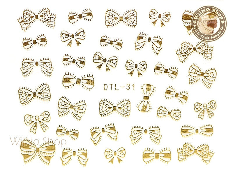Gold Bow Nail Art Sticker - 1 pc (DTL-31G)
