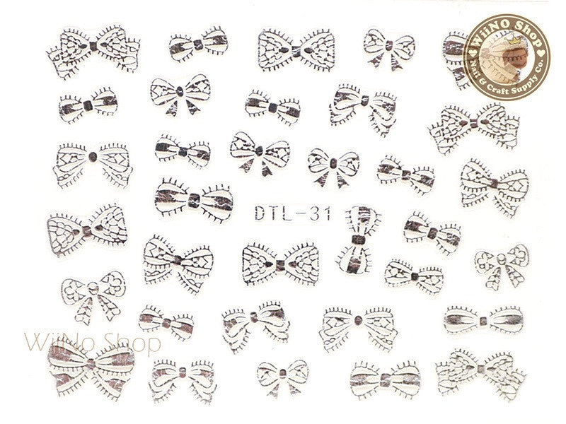 Silver Bow Nail Art Sticker - 1 pc (DTL-31S)