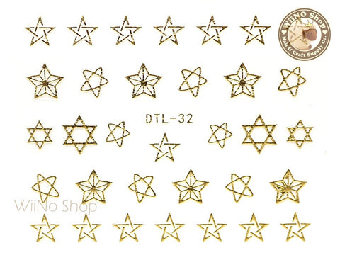 Gold Drawing Star Nail Art Sticker - 1 pc (DTL-32G)