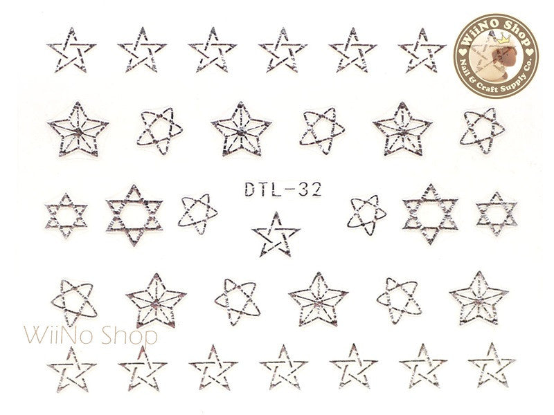 Silver Drawing Star Nail Art Sticker - 1 pc (DTL-32S)