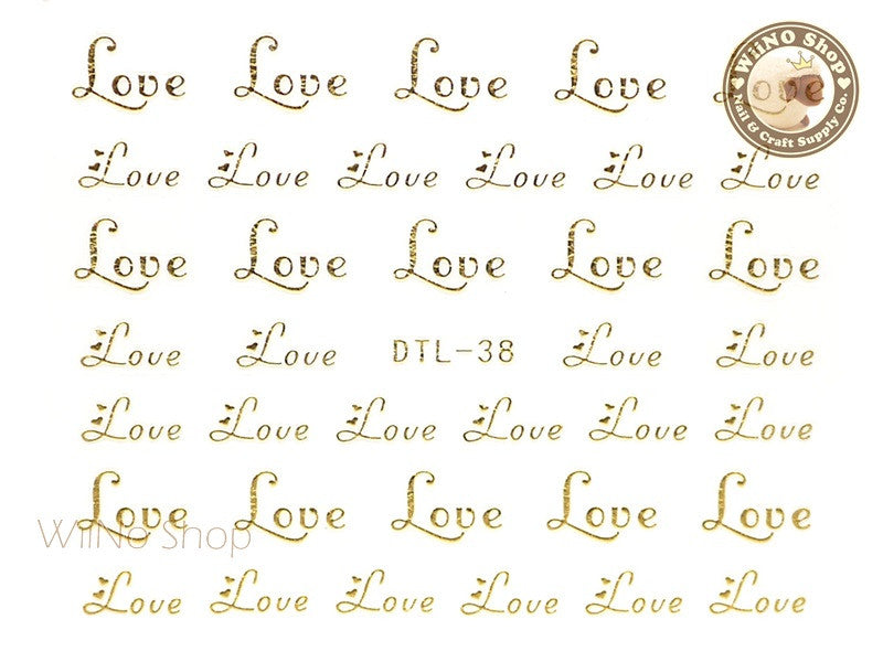 Gold Love Nail Art Sticker - 1 pc (DTL-38G)