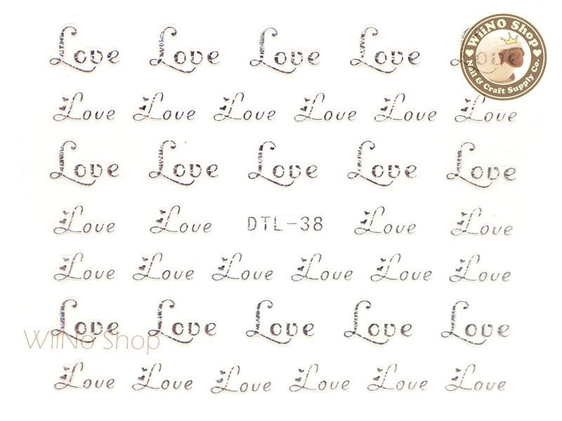 Silver Love Nail Art Sticker - 1 pc (DTL-38S)