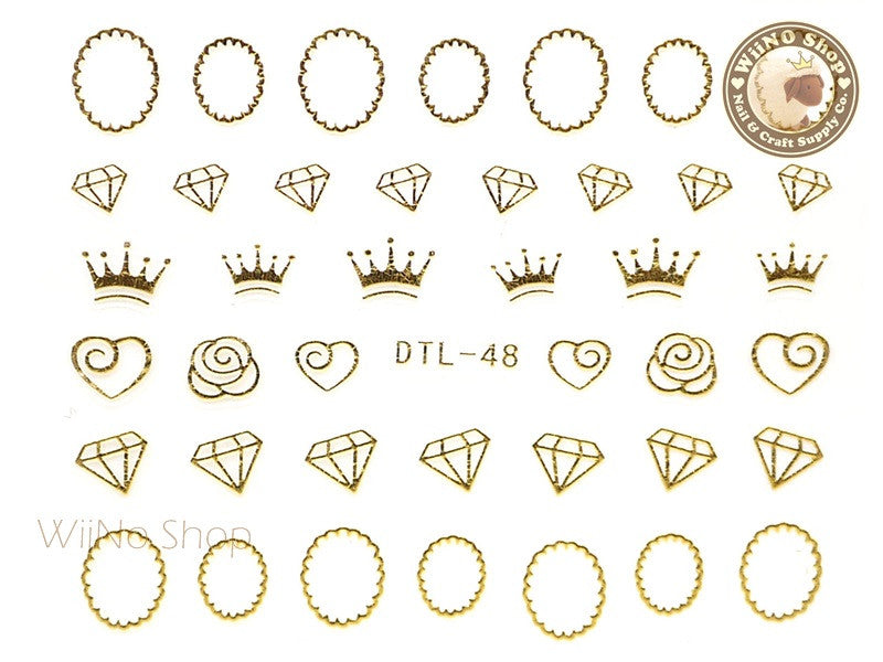 Gold Crown Diamond Frame Nail Art Sticker - 1 pc (DTL-48G)