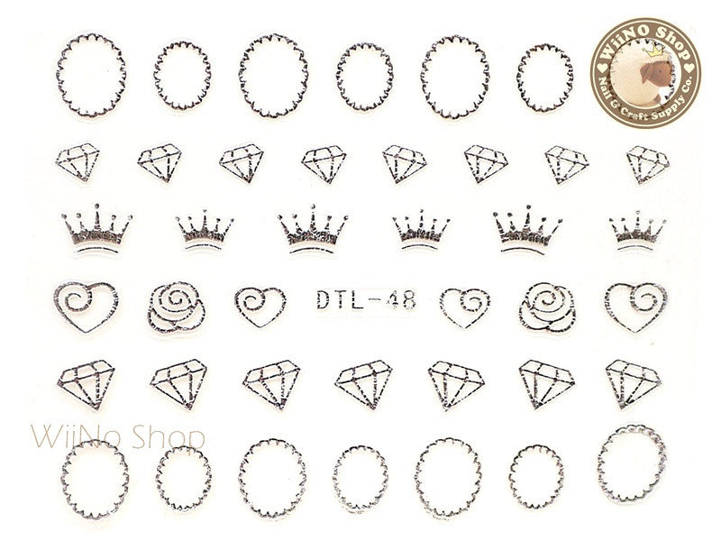 Silver Crown Diamond Frame Nail Art Sticker - 1 pc (DTL-48S)
