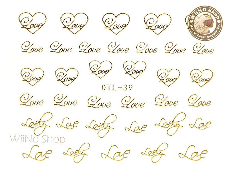 Gold Love Heart Nail Art Sticker - 1 pc (DTL-39G)