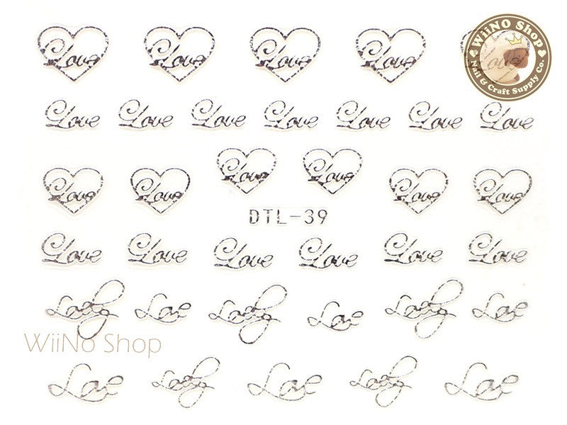 Silver Love Heart Nail Art Sticker - 1 pc (DTL-39S)