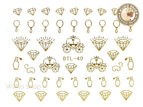 Gold Cinderella Nail Art Sticker - 1 pc (DTL-40G)