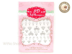 Silver Cinderella Nail Art Sticker - 1 pc (DTL-40S)
