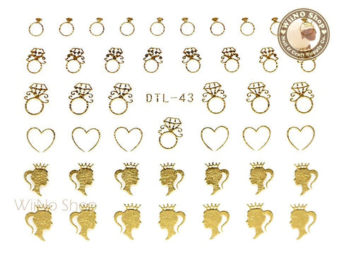 Gold Princess Diamond Ring Nail Art Sticker - 1 pc (DTL-43G)