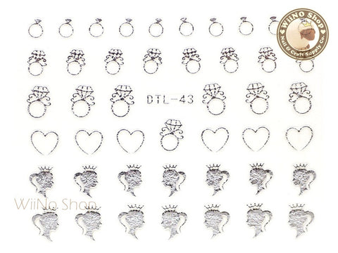 Silver Princess Diamond Ring Nail Art Sticker - 1 pc (DTL-43S)