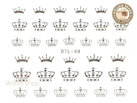 Silver Crown Nail Art Sticker - 1 pc (DTL-44S)